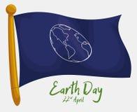Bandera conmemorativa para el Día de la Tierra, ejemplo del vector Foto de archivo libre de regalías
