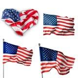 Bandera, corazón, americano imagen de archivo