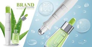 Bandera cosmética con las botellas realistas 3d para la crema superior del skincare, loción del cuerpo, maqueta de la plantilla d libre illustration