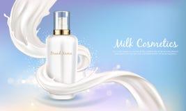 Bandera cosmética del vector con la botella blanca en remolino de la leche stock de ilustración