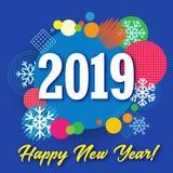 bandera creativa de la Feliz Año Nuevo 2019, círculo coloreado y nieve ilustración del vector