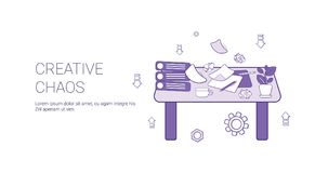 Bandera creativa del web de la plantilla del concepto del proceso de la creatividad del caos con el espacio de la copia stock de ilustración