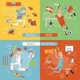 Bandera cuadrada de los iconos planos del deporte de equipo Imágenes de archivo libres de regalías