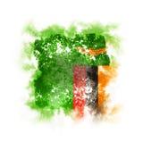 Bandera cuadrada del grunge de Zambia Foto de archivo
