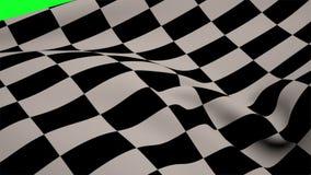 Bandera a cuadros que sopla en la pantalla verde ilustración del vector