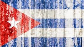 Bandera cubana del viejo grunge en la madera quebrada de la grieta con la grieta, dictadura del comunista de La Habana Cuba imágenes de archivo libres de regalías
