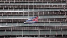 Bandera cubana en el ministerio en La Habana