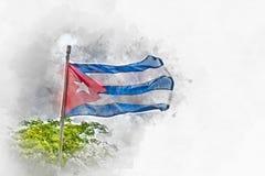 Bandera cubana en el viento, acuarela Imagenes de archivo