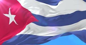 Bandera cubana que agita en el viento en lento, lazo stock de ilustración