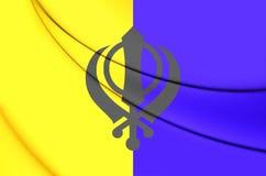 bandera 3D de Khalistan Imagen de archivo