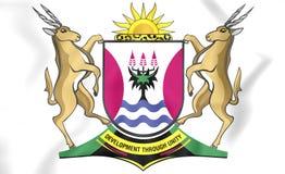 bandera 3D de la provincia de Eastern Cape, Suráfrica stock de ilustración