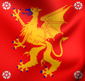 bandera 3D del condado de Ostergotland, Suecia Imagenes de archivo