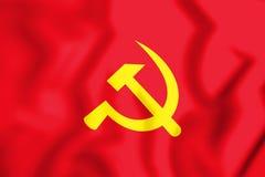 bandera 3D del partido revolucionario de Lao People ilustración del vector