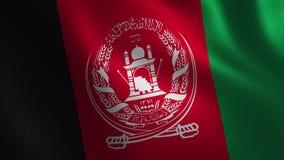 Bandera de Afganistán que agita 3d abstraiga el fondo Animación del lazo