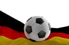 Bandera de Alemania con el balón de fútbol 3d-illustration aislada Stock de ilustración