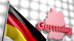 Bandera de Alemania en el mapa de Alemania almacen de metraje de vídeo