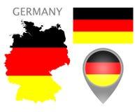Bandera de Alemania, mapa e indicador del mapa ilustración del vector
