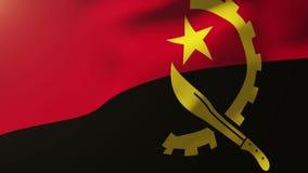 Bandera de Angola que agita en el viento Subidas de colocación del sol ilustración del vector