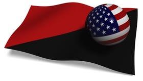 Bandera de Antifa con una bandera de los E.E.U.U. en una bola Imagenes de archivo