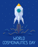 Bandera de 12 April Cosmonautics Day stock de ilustración