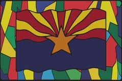 Bandera de Arizona en el vitral ilustración del vector