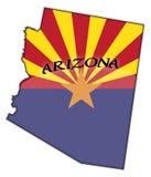 Bandera de Arizona en mapa ilustración del vector
