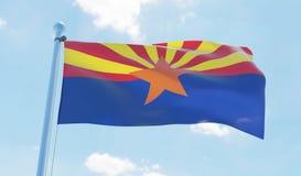 Bandera de Arizona los E.E.U.U. que agita contra el cielo azul stock de ilustración