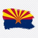 Bandera de Arizona de movimientos del cepillo Los Estados Unidos de América Bandera Arizona en el fondo transparente para su dise stock de ilustración