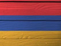 Bandera de Armenia en fondo de madera de la pared Textura armenia de la bandera del Grunge imágenes de archivo libres de regalías