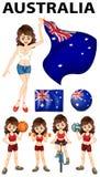 Bandera de Australia y muchos deportes Fotos de archivo libres de regalías
