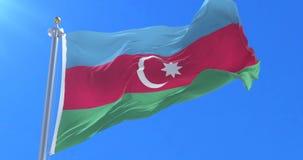 Bandera de Azerbaijan que agita en el viento en lento, lazo