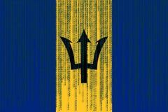 Bandera de Barbados de la protección de datos Barbados señalan por medio de una bandera con código binario Fotografía de archivo