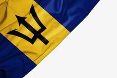 Bandera de Barbados de la tela con el copyspace para su texto en el fondo blanco ilustración del vector