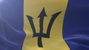 Bandera de Barbados que agitan en la asta de bandera en el viento, símbolo nacional de la libertad ilustración del vector