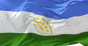 Bandera de Bashkortostan que agita en el viento en lento con el cielo azul, lazo