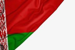 Bandera de Bielorrusia de la tela con el copyspace para su texto en el fondo blanco stock de ilustración