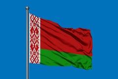 Bandera de Bielorrusia que agita en el viento contra el cielo azul profundo Bandera bielorrusa ilustración del vector