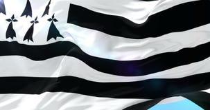 Bandera de Bretaña que agita en el viento en lento, lazo