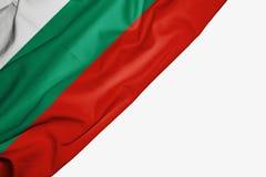 Bandera de Bulgaria de la tela con el copyspace para su texto en el fondo blanco ilustración del vector