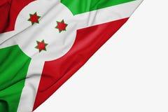 Bandera de Burundi de la tela con el copyspace para su texto en el fondo blanco ilustración del vector