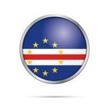 Bandera de Cabo Verde del vector en el estilo de cristal del botón Imagen de archivo