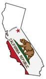 Bandera de California en mapa Imagenes de archivo