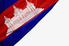Bandera de Camboya de la tela con el copyspace para su texto en el fondo blanco stock de ilustración