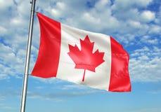 Bandera de Canadá que agita con el cielo en el ejemplo realista 3d del fondo fotografía de archivo