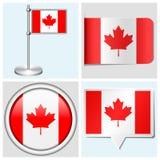 Bandera de Canadá - sistema de la etiqueta engomada, del botón, de la etiqueta y de la asta de bandera Foto de archivo libre de regalías