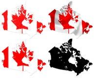 Bandera de Canadá sobre mapa Imagen de archivo libre de regalías