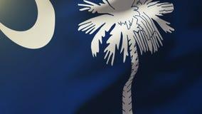 Bandera de Carolina del Sur que agita en el viento colocación ilustración del vector
