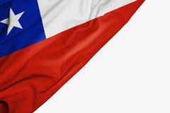 Bandera de Chile de la tela con el copyspace para su texto en el fondo blanco libre illustration