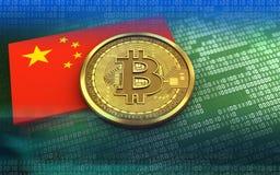 bandera de China del bitcoin 3d Foto de archivo