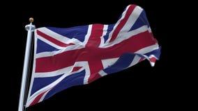 bandera de colocación 4k de Gran Bretaña Gran Bretaña que agita en viento Canal alfa incluido almacen de video